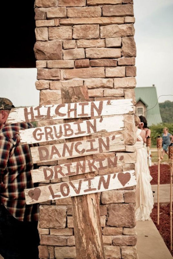 country wedding sign ideas