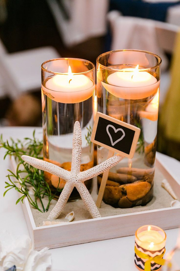 diy beautiful candle and starfish centerpices