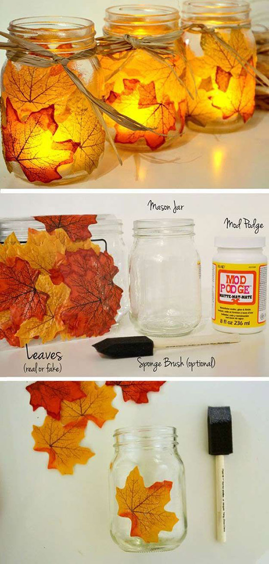 12 creative diy wedding ideas with tutorials to save you budget diy fall maple leave mason jar candle holder for autumn weddings junglespirit Gallery