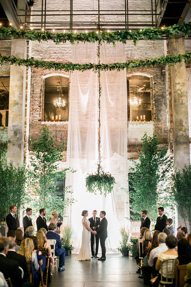 drapery greenery weddiing ceremony