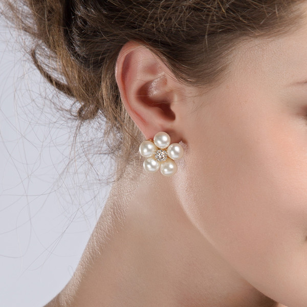elegant floral rhinestone pearl earrings for bride