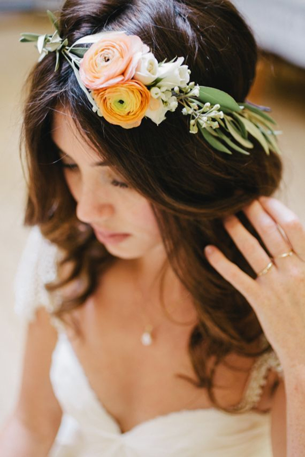 elegant floral wedding crown ideas