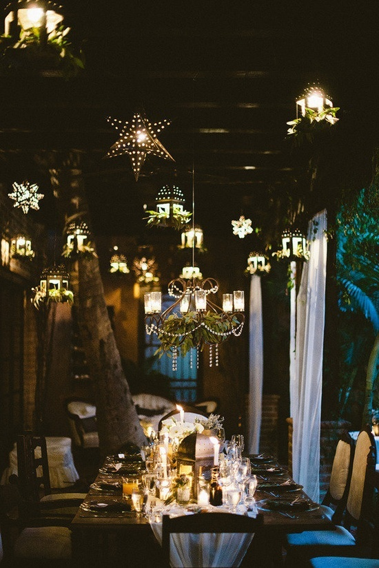 Hanging Lanterns And Stars Wedding Decor Ideas