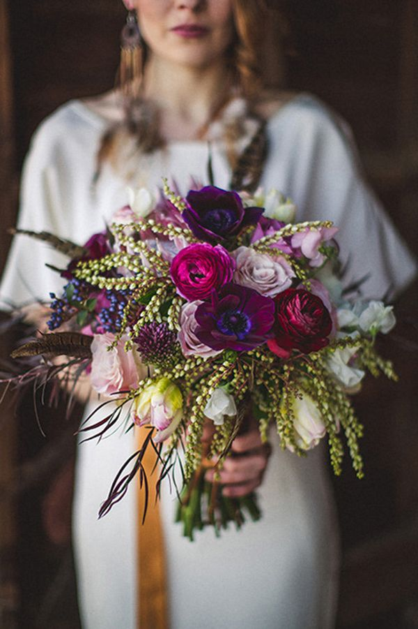impeccable purple and green wedding bouquet