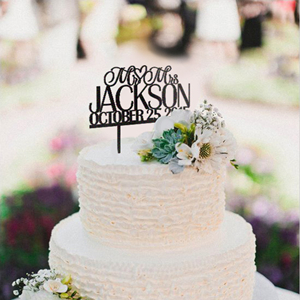 inexpensive personalized Mr and Mrs monogram wedding cake topper