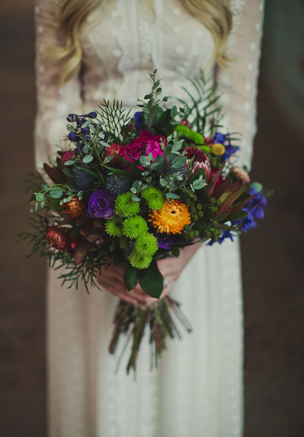 Jewel Toned Wedding Bouquet For A Winter