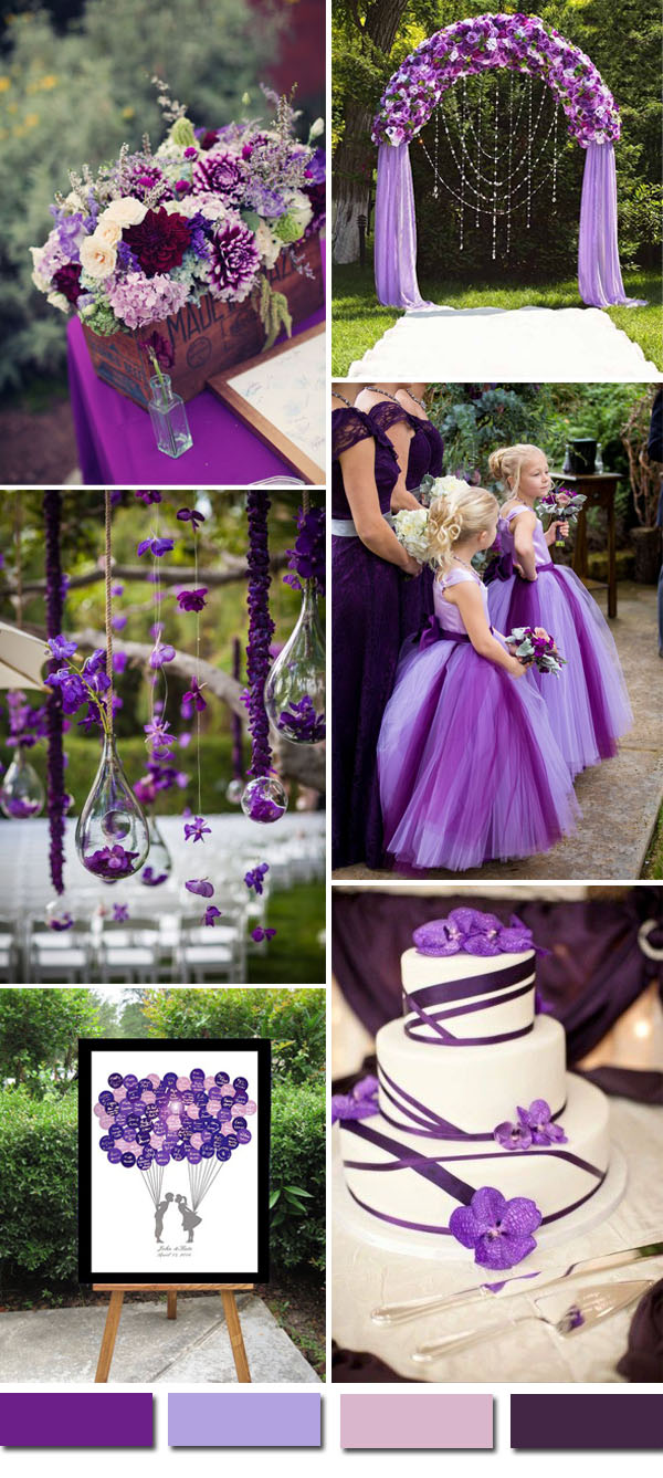 2016 wedding color ideas gorgeous purple wedding color palettes light and dark purple wedding theme ideas junglespirit Gallery