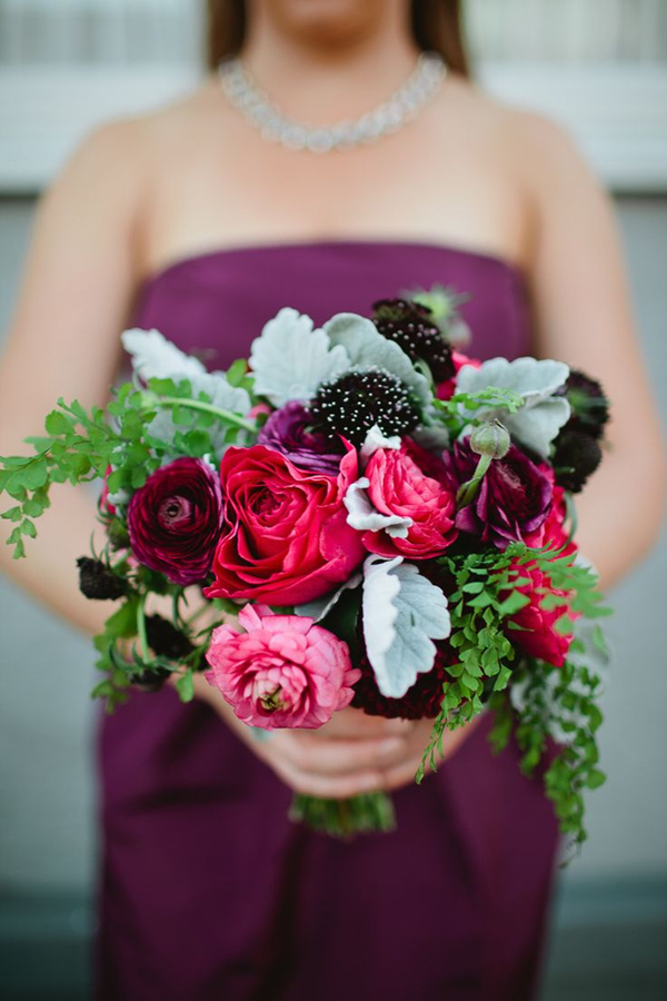 lush pink and purple wedding bouquet ideas