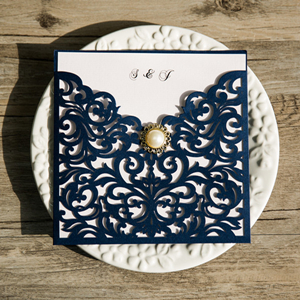 navy blue laser cut pearl wedding invitations