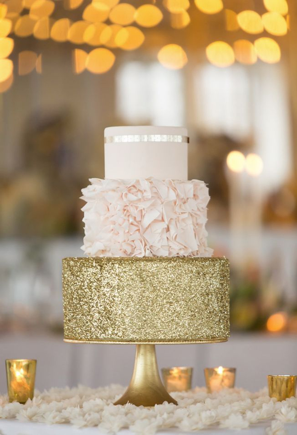 pink and gold glittery wedding cake ideas