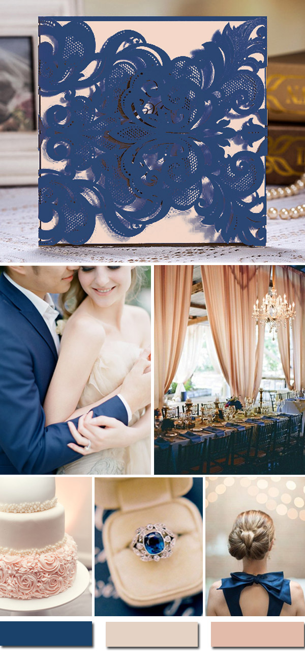 romantic and graceful blue and blush pink wedding ideas and laser cut blue and pink wedding invitations