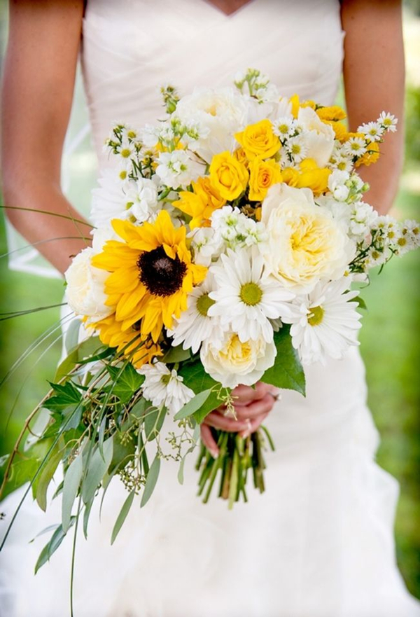 romantic cascading bridal bouquets of sunflowers roses and daisies