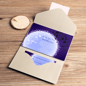 romantic flowers in moonlight pocket wedding invitations