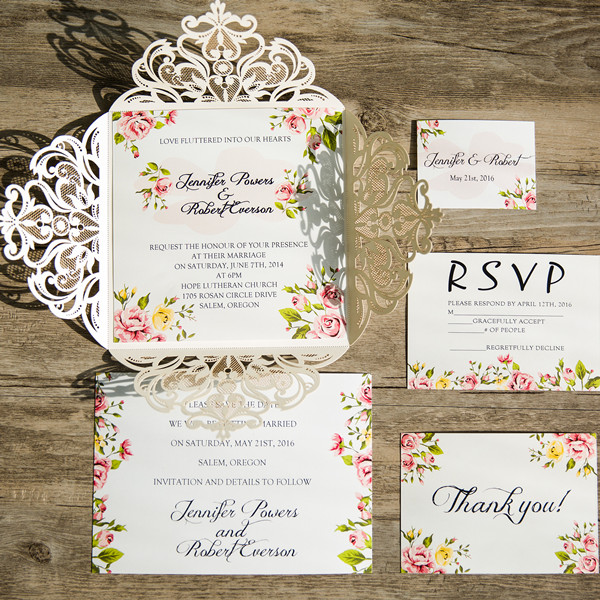 Floral Laser Cut Wedding Invites