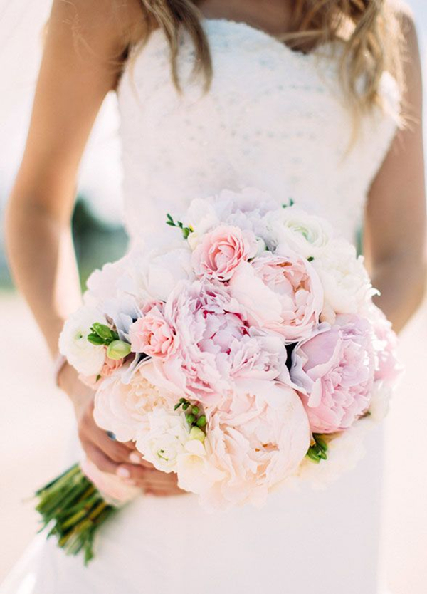 29 eye catching wedding bouquets ideas for 2016 spring romantic soft pink peony wedding bouquet ideas junglespirit Images