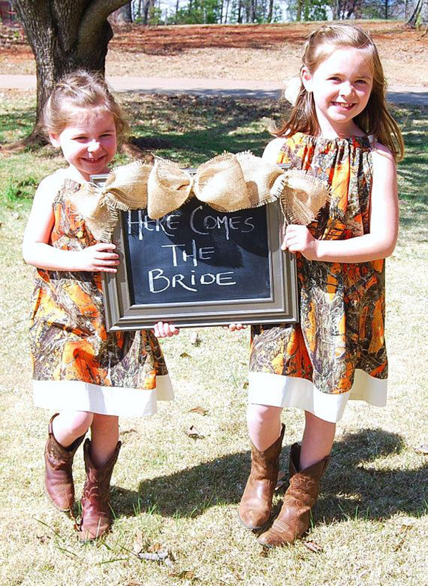 rustic camo wedding flowergirl dresses