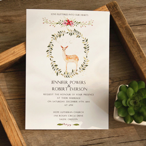 rustic deer boho wedding invitations