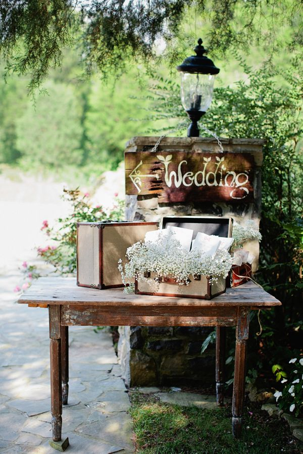 rustic wedding decor ideas with vintage suitcases and wedding signs