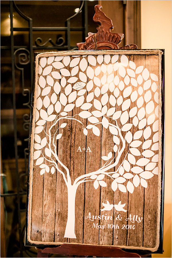 rustic wooden guest book ideas