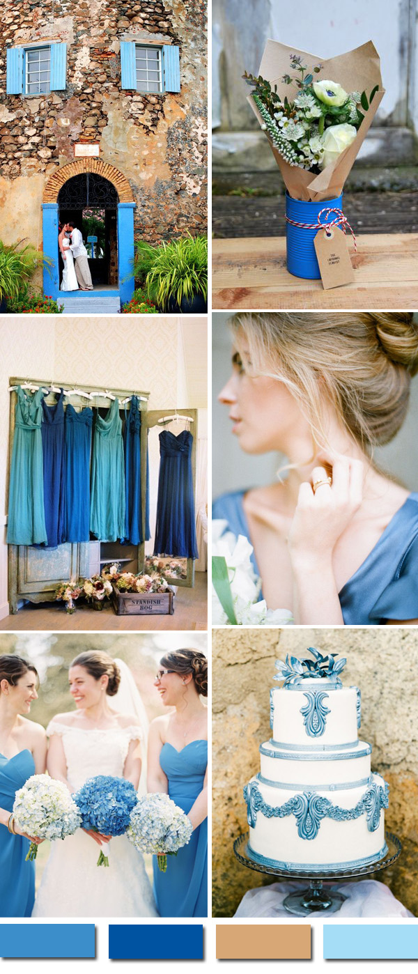 shades of blue and brown vintage wedding ideas
