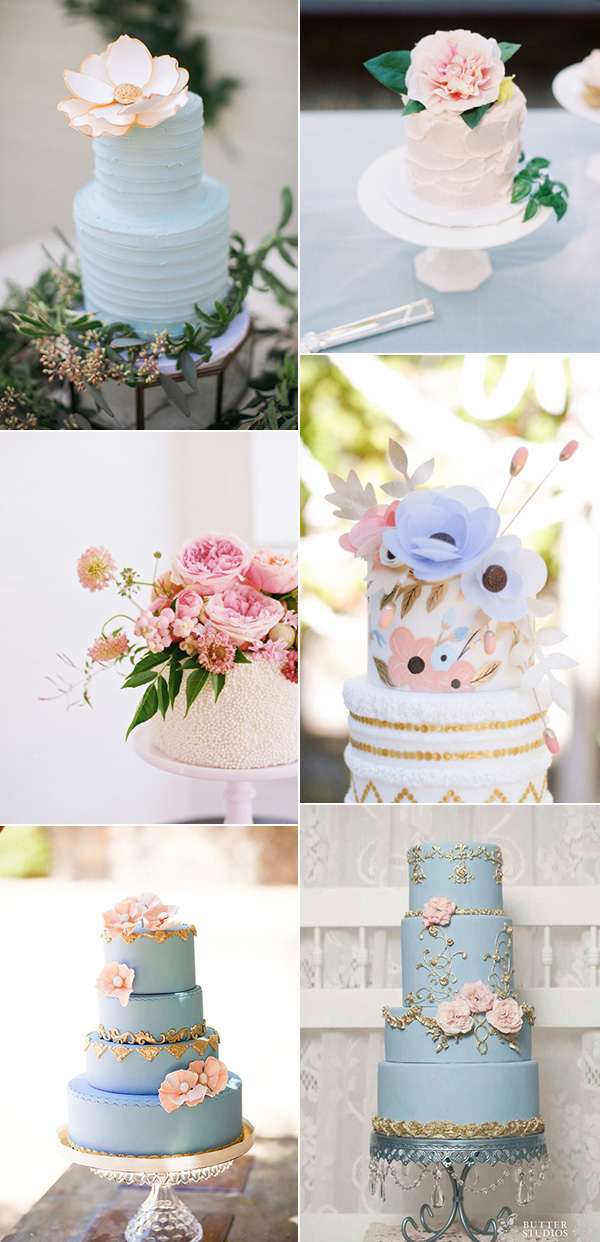 shades of pink and blue pantone's 2016 colors inspired wedding cakes