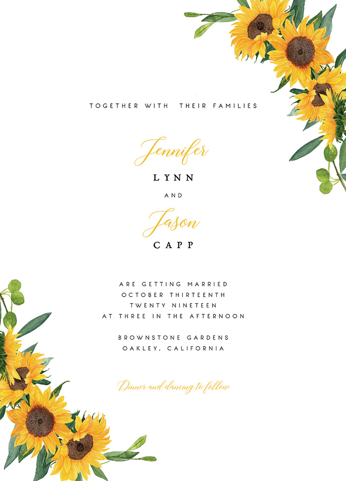 Simple and Cheap Sunflower Wedding Invitation Cards