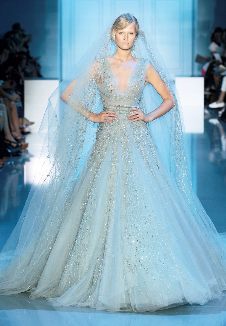 Slittery Baby Blue Wedding Dresses