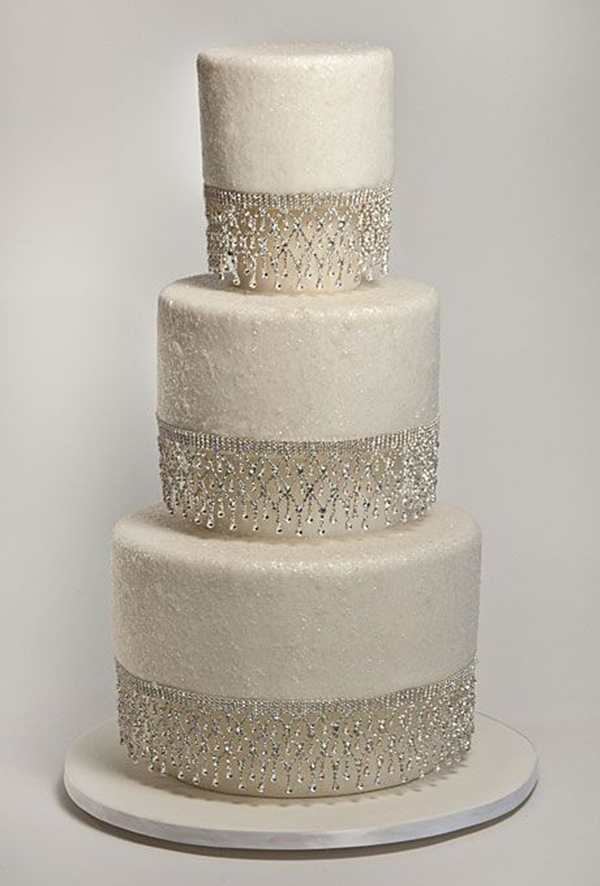 sparkle silver glitter dusted wedding cake ideas