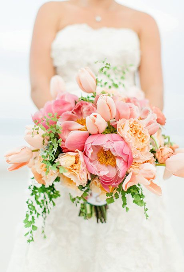 spring lush wedding bouquets with tulips