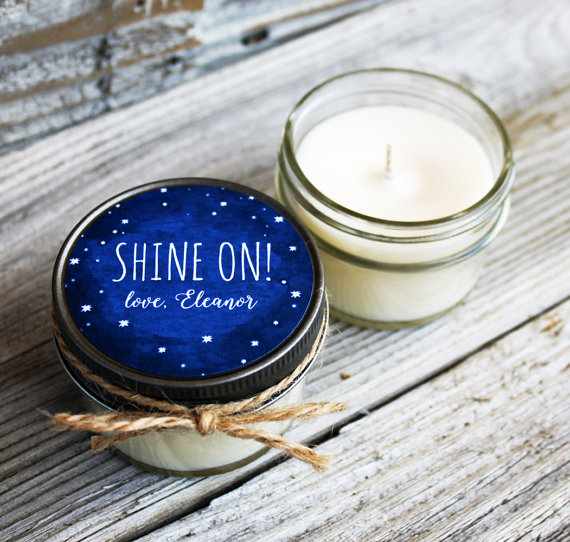 starry night wedding candle favors