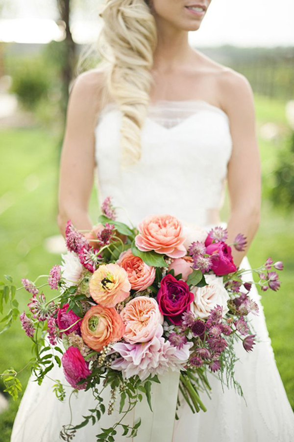 stunning lush ranunculus wedding bouquet with dahilas roses and jasmine