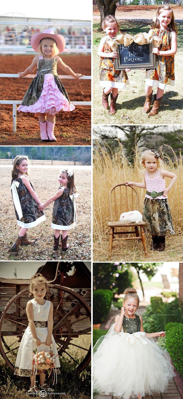 sweet flowergirl dresses for country camo weddings