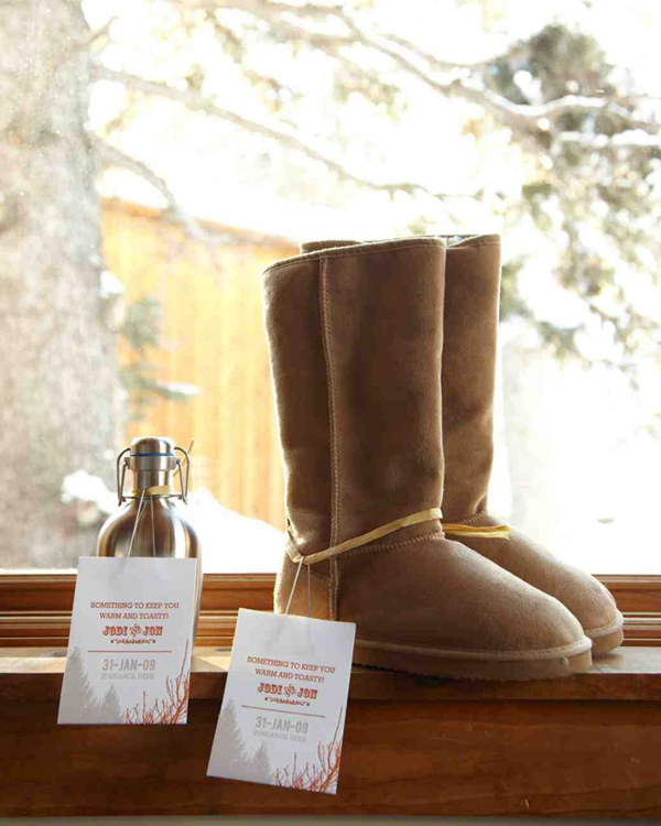 toasty treats of blasks with winter boots for winter wedding gifts
