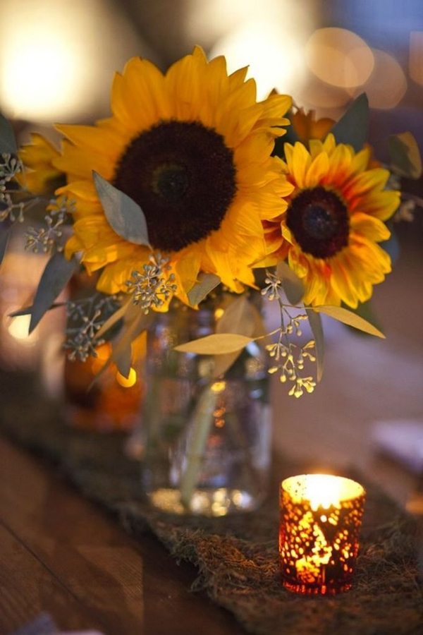 Lovely Wedding Ideas Of Sunflower With Mason Jar