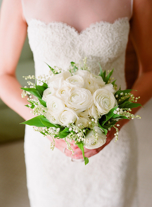 white ranunculus wedding bouquet with lily of the valley