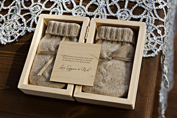 winter wedding favors mittens winter warmth