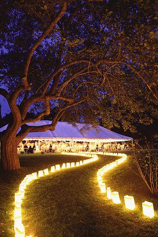 an illuminated pathway invites guests to the wedding recetion or ceremony