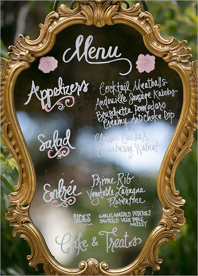 beautiful vintage mirrir menu ideas