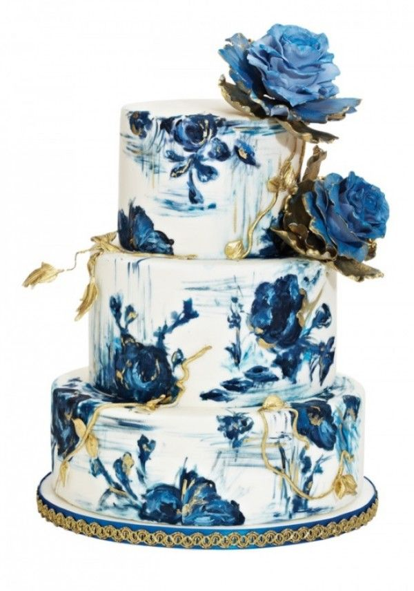 blue and gold rose painted wedding cake