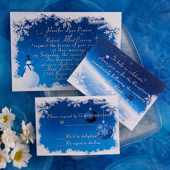 Blue And White Snowflake Winter Wedding Invitations With