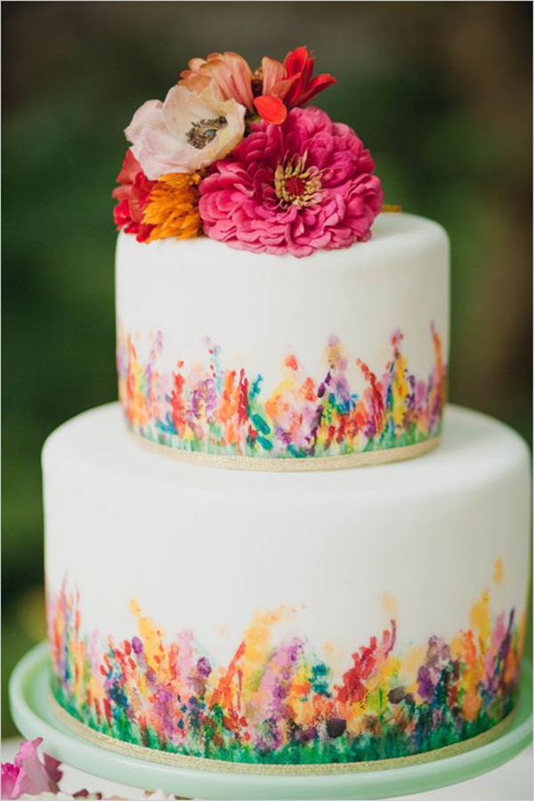 colorful hand painted wedding cakes for spring garden wedding