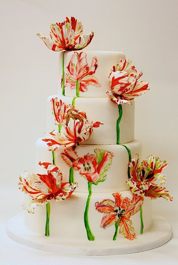 dazzling painted floral wedding cake