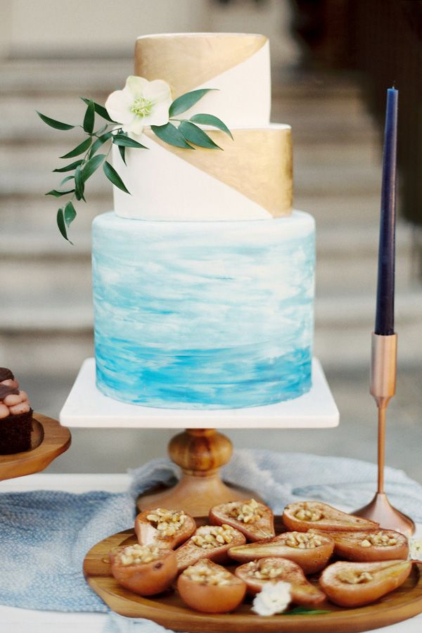 elegant watercolor hand painted wedding cakes