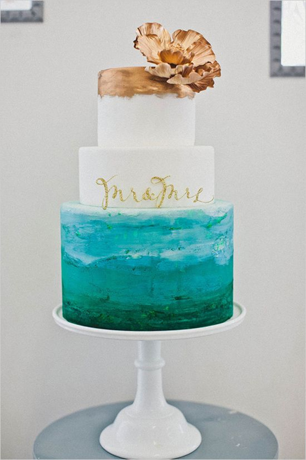 fantastic watercolor hand painted wedding cake