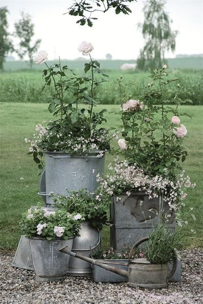 galvanized buckets & watering cans with flowers wedding decor ideas