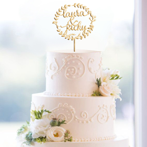 glittery boho custom wedding cake topper monogram