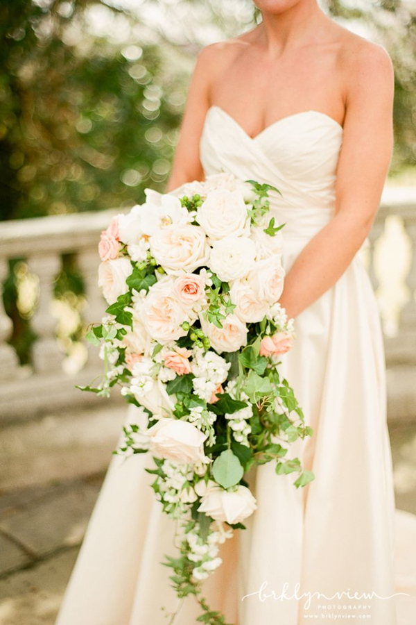 gorgeous cascading wedding bouquets with white and blush flowers