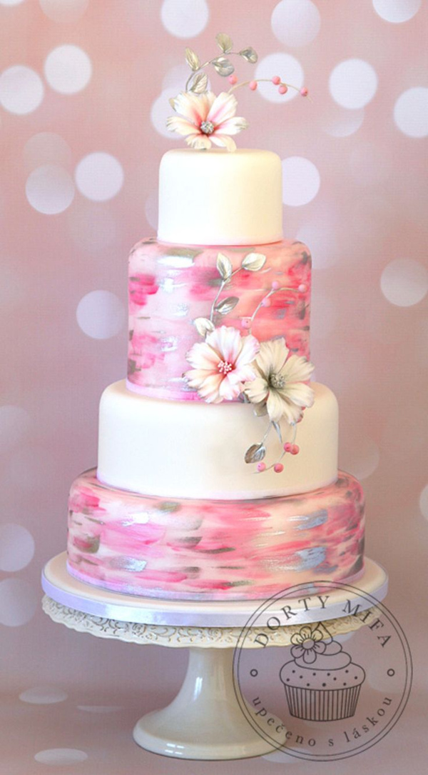 gorgeous pink hand painted wedding cake for spring