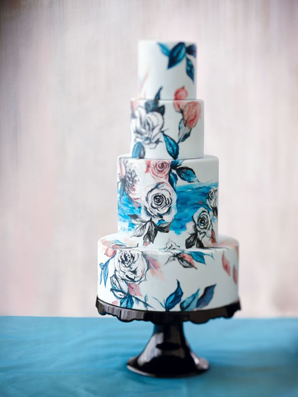 incredibly elegant painted wedding cake ideas