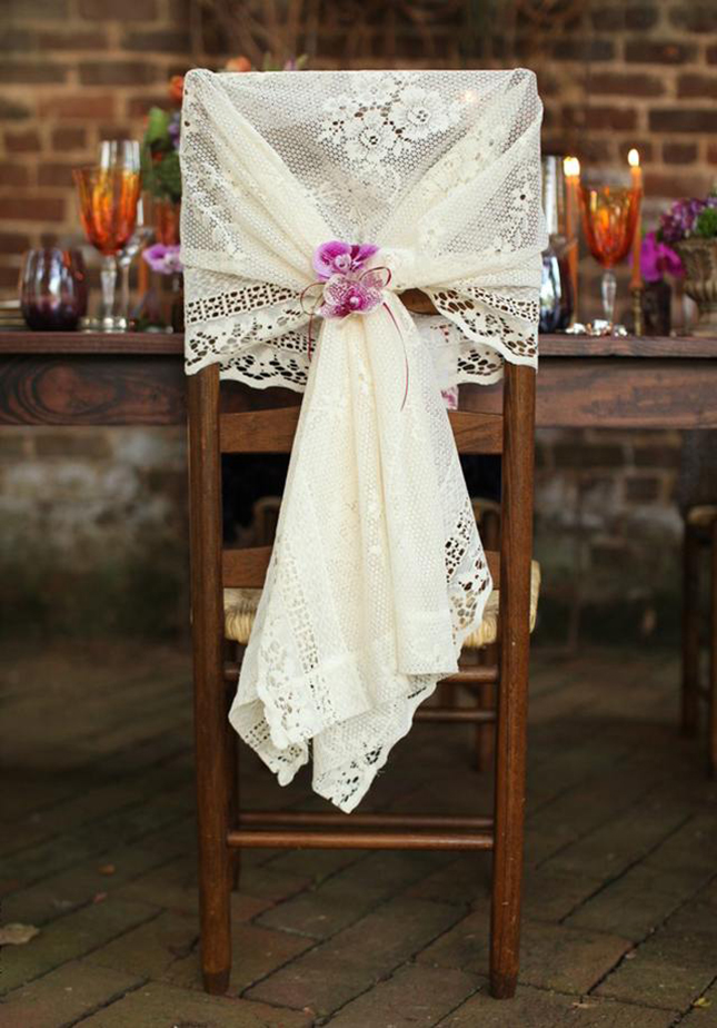 lace-draped chair decor ideas for vintage wedding theme